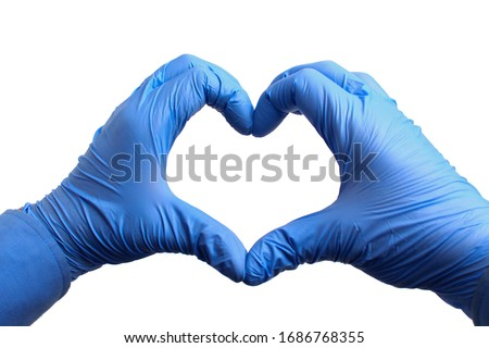 Hands in medical gloves depict a heart on a white background, isolated. Recovery concept #1686768355
