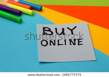 "Sticker with the inscription ""BUY ONLINE"" on a bright and colorful background #1686771976"