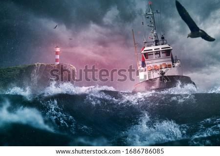 Ship lighthouse storm waves sea Royalty-Free Stock Photo #1686786085