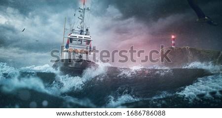 Ship lighthouse storm waves sea #1686786088