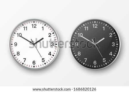 Vector 3d Realistic Simple Round Gray Silver Wall Office Clock. White and Black Dial Icon Set Closeup Isolated on White Background. Design Template, Mock-up for Branding, Advertise. Front or Top View #1686820126