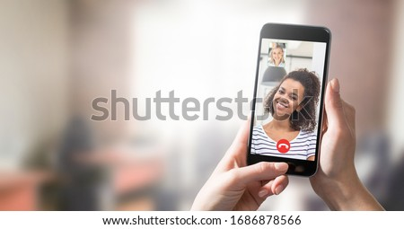 Virtual talking with friends, colleague and using video chat conference. Remote learning or work. Home quarantine or prevention of coronavirus infection (virus covid-19). Group of people smart working Royalty-Free Stock Photo #1686878566
