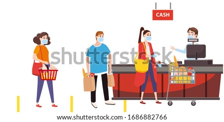 Supermarket store counter cashier and buyers in medical masks, with cart and basket of food. Quarantine coronavirus 2019-nCoV in the store social distancing epidemic precautions. Cartoon style vector #1686882766