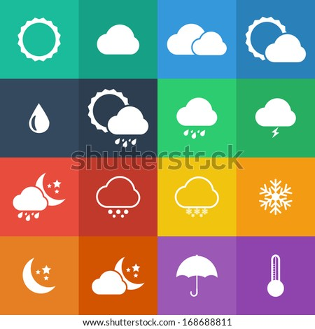 Flat Color style weather icon vector set. #168688811