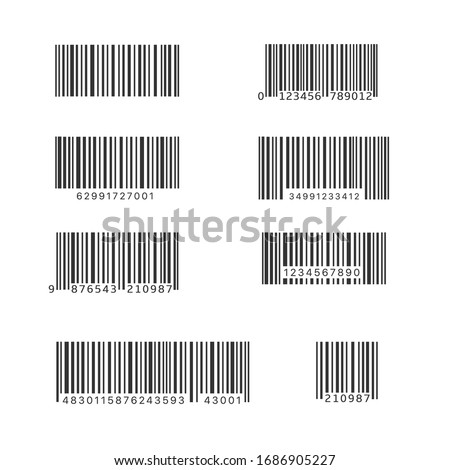 Simple bar code set. Universal Product Scan Code, Vector