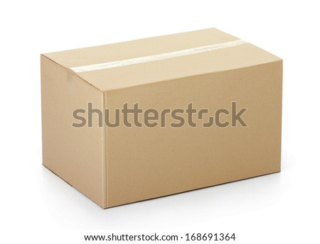 Closed cardboard box taped up and isolated on a white background. #168691364