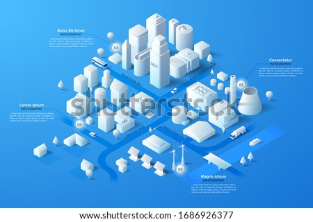 Isometric map or scheme of city with downtown, industrial district, suburban area, paper white buildings, houses and river. Infographic design template. Modern vector illustration for navigation. Royalty-Free Stock Photo #1686926377