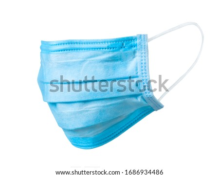 Doctor surgery mask, corona virus protection concept isolated on white background. Breathing medical respiratory textile protective mask. Coronavirus, hospital or pollution protect face masking. #1686934486