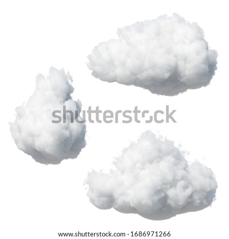 3d render. Random shapes of abstract cotton clouds. Cumulus different views clip art isolated on white background.