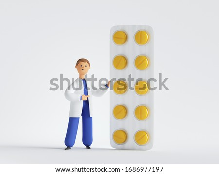 3d render. Doctor cartoon character near the big pack of yellow pills. Pharmacist recommendation. Medical healthcare concept. Pharmaceutical clip art isolated on white background.
