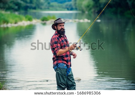 Male hobby. Ready for fishing. Relax in natural environment. Trout bait. Bearded elegant man. Man relaxing nature background. Strategy. Hobby sport activity. Activity and hobby. Catching and fishing #1686985306