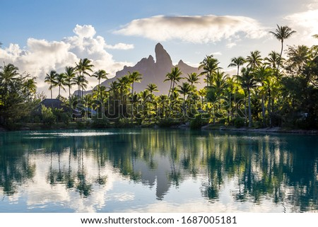 Lagoons and mountains in French Polynesia (Bora Bora and Huahine) #1687005181