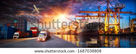 Container truck in ship port for business Logistics and transportation of Container Cargo ship and Cargo plane with working crane bridge in shipyard, logistic import export and transport industry  Royalty-Free Stock Photo #1687038808