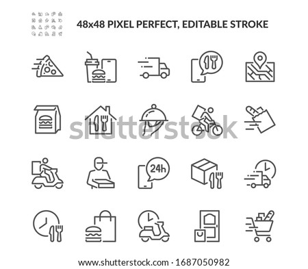 Simple Set of Food Delivery Related Vector Line Icons. Contains such Icons as Courier on the bike, Food Box, Contactless Delivery and more. Editable Stroke. 48x48 Pixel Perfect.