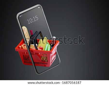 Service for delivery app. Food market in smartphone. Online shop. Food delivery background concept. Online shop in your smartphone. Shopping cart. #1687056187