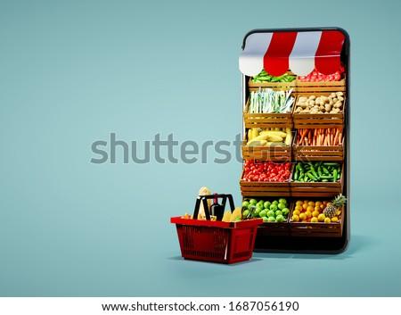 Service for delivery app. Food market in smartphone. Online shop. Food delivery background concept. Online shop in your smartphone. Shopping cart.
