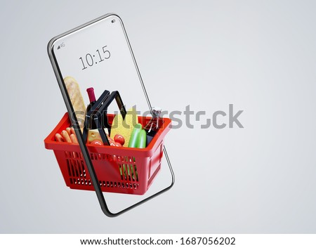 Service for delivery app. Food market in smartphone. Online shop. Food delivery background concept. Online shop in your smartphone. Shopping cart. #1687056202