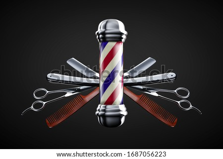 Razor, scissor and comb with pole emblem background concept. Barbershop background concept. Royalty-Free Stock Photo #1687056223
