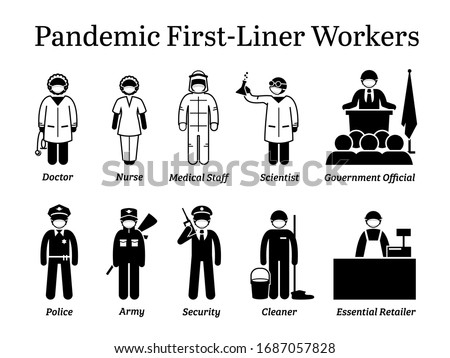 Virus pandemic first-liner workers. Vector icons of doctor, nurse, medical staff, scientist, government official, police, army, security guard, cleaner, and essential retailer wearing surgical mask. #1687057828