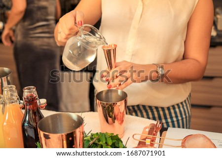 Woman preparing a cocktail at a home party. #1687071901