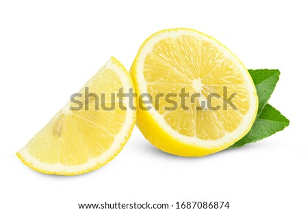 lemon fruit with leaf isolated on white background Clipping Path #1687086874