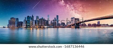 New York city sunset panorama  #1687136446