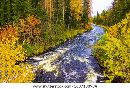 Autumn forest river wild landscape. Forest river wild in autumn. Autumn forest river. Forest river wild in autumn Royalty-Free Stock Photo #1687138984