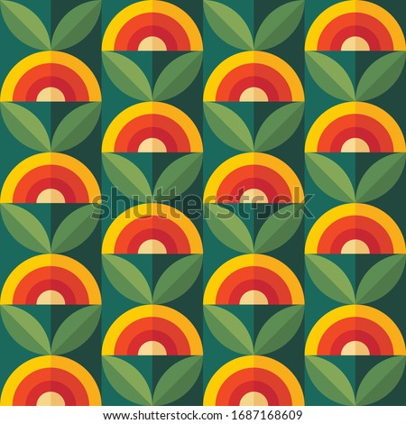 Fruits and leaves nature background. Mid-century modern art vector. Abstract geometric seamless pattern. Decorative ornament in retro vintage design flat style. Floral backdrop. Royalty-Free Stock Photo #1687168609