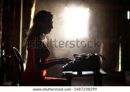 Silhouette of a beautiful girl in a red dress on the background of a window in an old house #1687238299