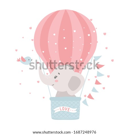 Cute baby elephant in a hot air balloon. Vector illustration for baby shower, greeting card, party invitation, fashion clothes t-shirt print. Royalty-Free Stock Photo #1687248976