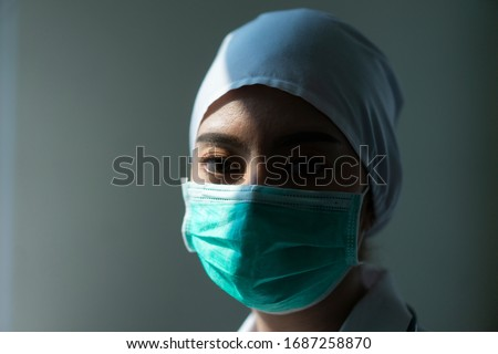 Closeup Asian female Doctor wearing face shield and PPE suit for Coronavirus outbreak or Covid-19, Concept of Covid-19 quarantine #1687258870