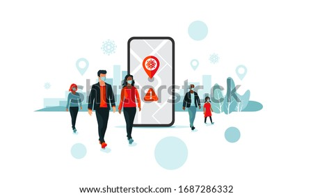 Smartphone health virus tracking location app with people wearing protection face mask to prevent coronavirus, disease, flu, air pollution. Old man young woman person walking. City illustration. #1687286332