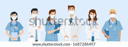 Frontline heroes, Illustration of doctors and nurses characters wearing masks. Vector Royalty-Free Stock Photo #1687286497