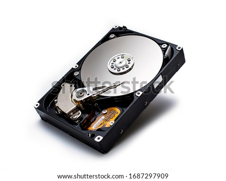 Hard disk isolated on a white background. Computer HDD Hard Disk Drive. Computer Storage Memory #1687297909