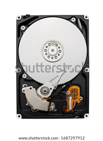 Detailed view of the inside of a hard disk drive. Front view of HDD. Storage Concept