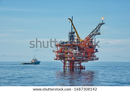 Petroleum platform oil and gas at sea Royalty-Free Stock Photo #1687308142