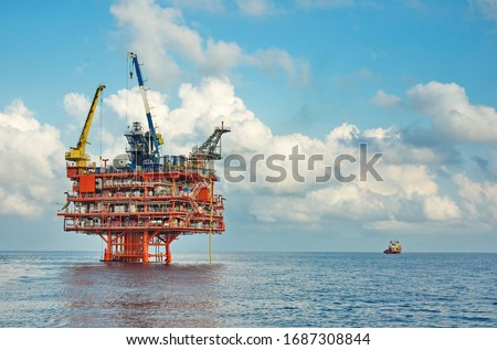 Petroleum platform oil and gas at sea Royalty-Free Stock Photo #1687308844