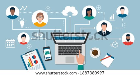 People with different skills connecting together online and working on the same project, remote working and freelancing concept #1687380997