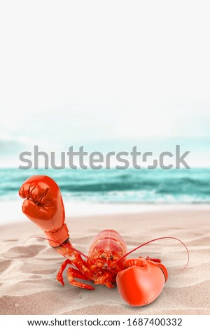 boxing glove and lobster. Creative photo manipulation. Surreal artwork