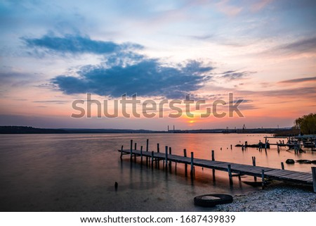 Beautiful sunset near Varna town #1687439839