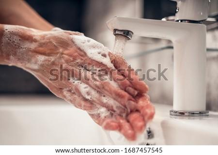 Coronavirus. Proper washing and handling of hands. Liquid antibacterial soap. Self-isolation and hygiene #1687457545