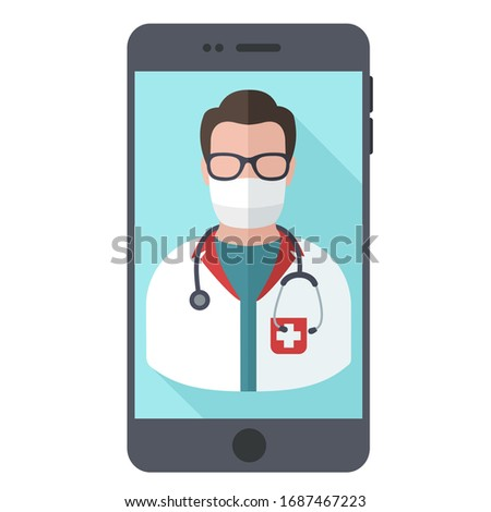 vector medical icon mobile doctor. Image phone doctor. Illustration online mobile doctor in flat style