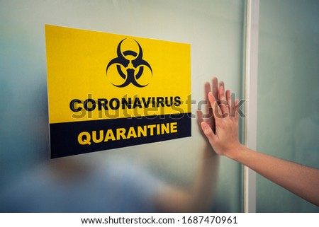 Covid-19 or Corona virus sign in front of corona quarantine room in hospital. Virus outbreak, Medical, Healthy, Healthcare, Covid 19 or Corona concept