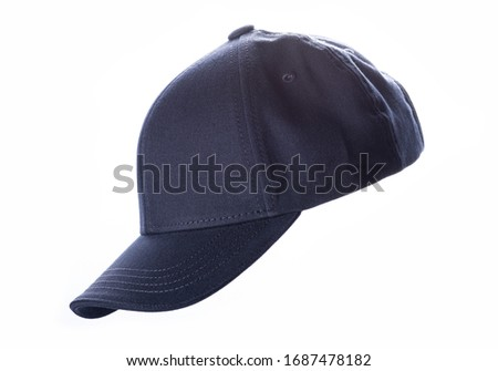 Dark navy blue baseball cap, men's fashion, isolated on a white background, product picture