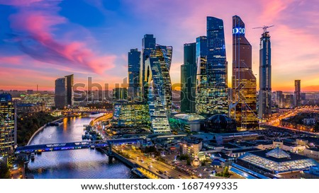 Moscow city skyscraper and skyline architecture, Moscow international business financial office with Moscow river, Aerial view skyscraper of Moscow City business center in autumn season, Russia. #1687499335
