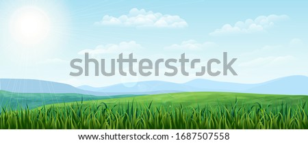 vector horizontal green Summer landscape. sunny idyllic Spring background with green meadows, rural fields and meadows, mountains, blue sky, fluffy clouds. realistic nature scene. countryside banner Royalty-Free Stock Photo #1687507558