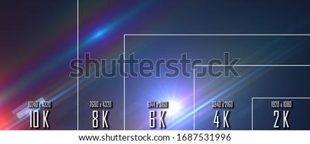 10K  8k  6K  4K  2K tv resolution display with comparison of resolutions. 3D render #1687531996