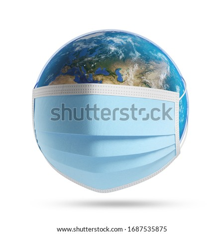 Planet Earth with a medical mask. Isolated, clipping path included. Elements of this image furnished by NASA. 3d illustration