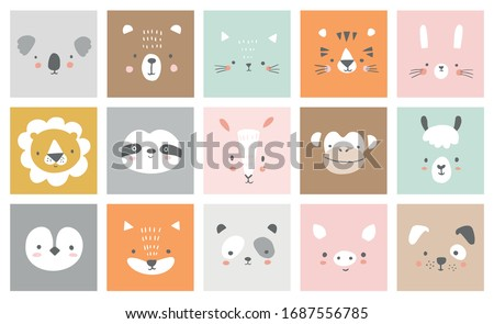 Cute simple animal portraits - hare, tiger, bear, sloth, cat, koala, fox, alpaca, llama, panda, penguin, lion, dog, goat, pig. Designs for baby clothes. Hand drawn characters. Vector illustration. Royalty-Free Stock Photo #1687556785