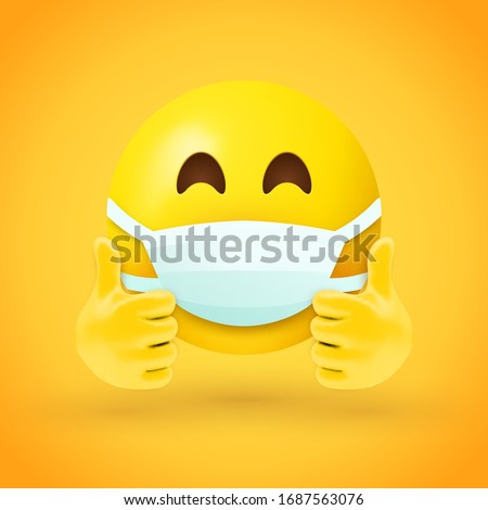 Emoji with mouth mask and thumbs up - yellow face with half-closed eyes wearing a white surgical mask with both hands in thumbs up position #1687563076
